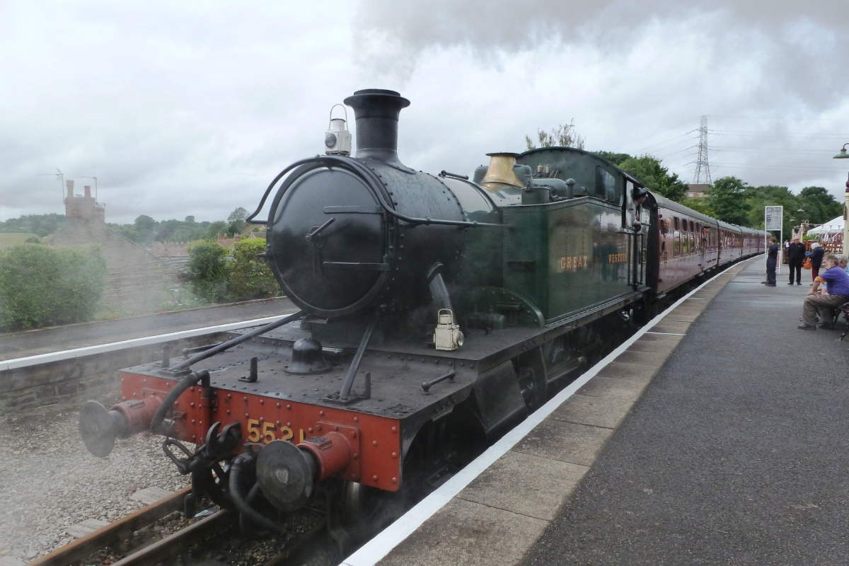Image: SoutwestBusiness. Steam engine pulling out of Bitton Station